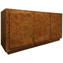 Milo Baughman Style Burl Wood Credenza