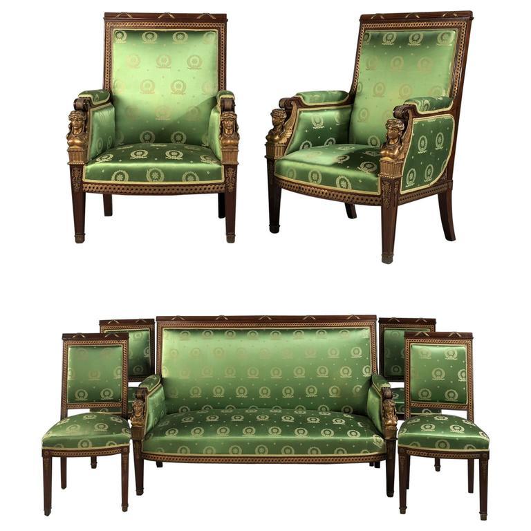7 Piece Second Empire Salon Suite French Circa 1880 For