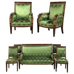 Mahogany and Gilt-Bronze Seven Piece Second Empire Salon Suite, circa 1880