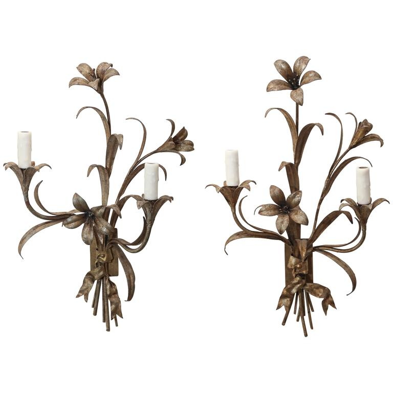 Pair of Wired Wall Sconces from France