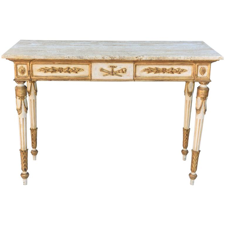 Painted and Parcel Gilt Venetian Console Table with Marble Top
