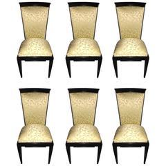 French Art Deco Ebonized Dining Chairs Set of Six