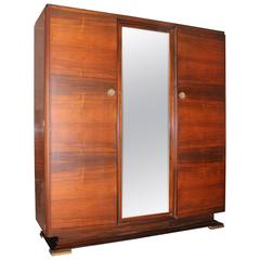 French Art Deco Masterpiece Palisander Armoire by Maxime Old, circa 1940s