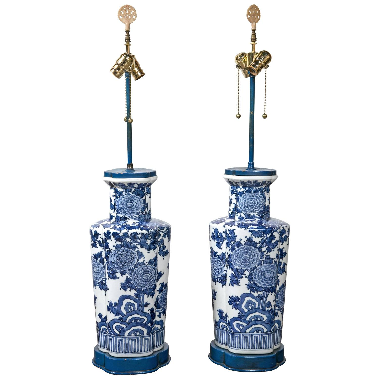 Large Blue And White Porcelain Lamps At 1stdibs
