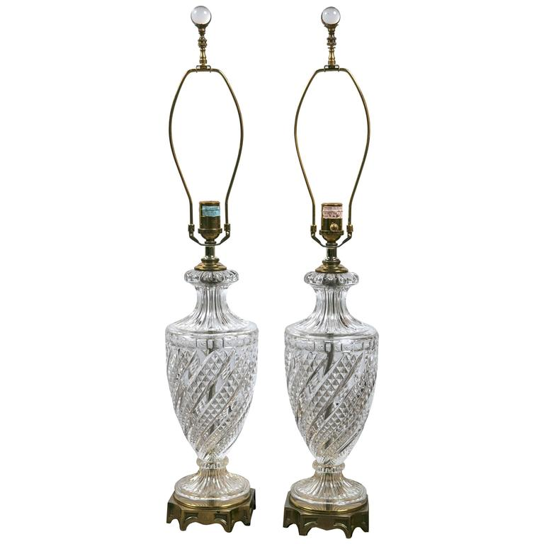 Pair of Baccarat Crystal Lamps