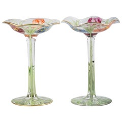 Pair of American Enameled Glass Footed Compotes, circa 1880