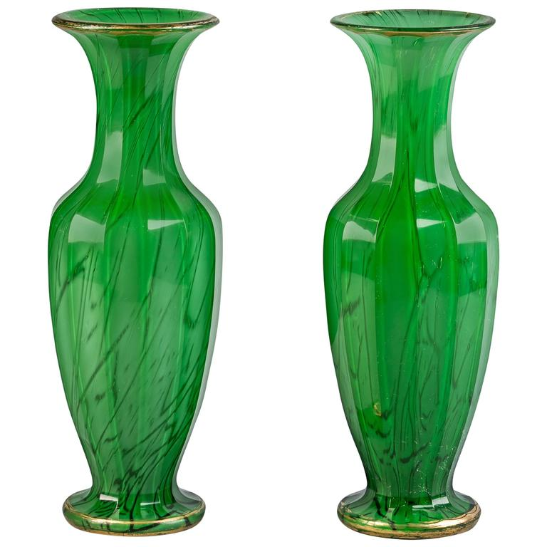 Pair of Bohemian Green and Gilt Glass Vases, circa 1840