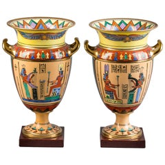 Pair of Paris Porcelain Egyptian Motif Vases, circa 1860