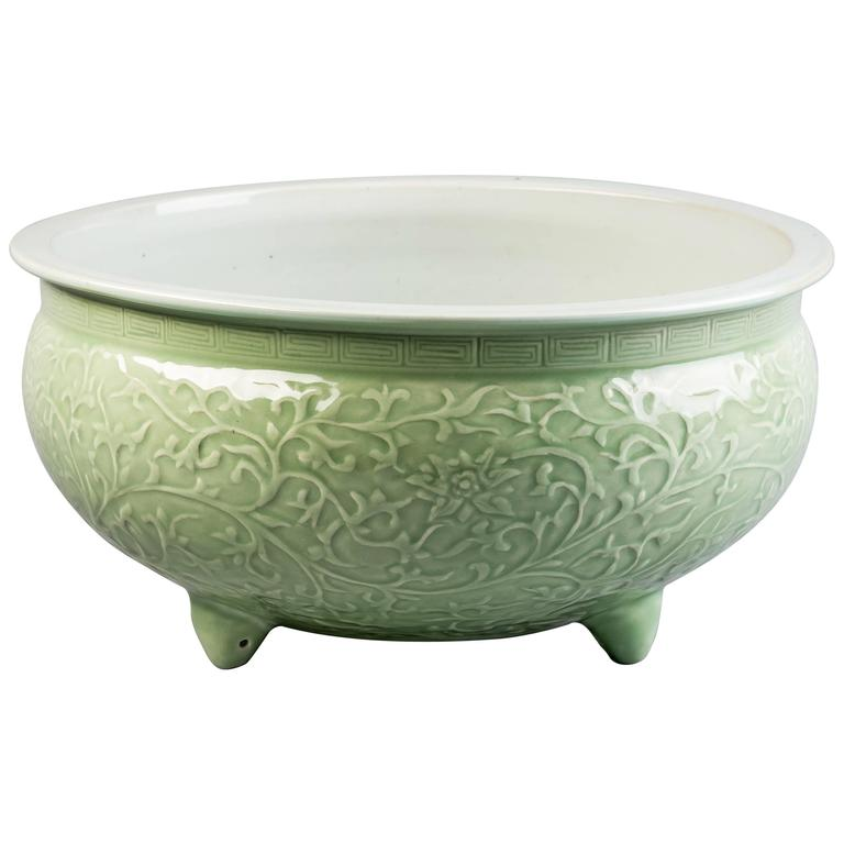 Chinese Celadon Footed Centerpiece, 19th Century