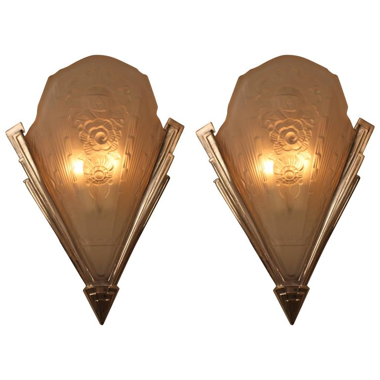 Wall Sconces Deco : Pair of Large French Art Deco Wall Sconces at 1stdibs
