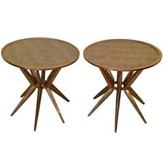 Pair of Bronze and Galuchat Side Tables