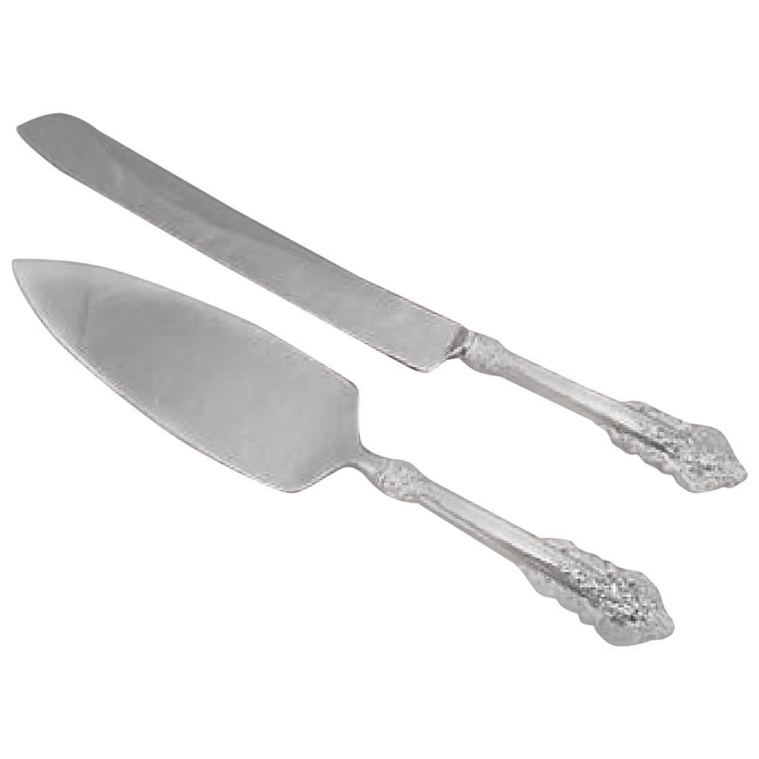 Sterling Silver Two Pieces Wedding Cake Knife And Server