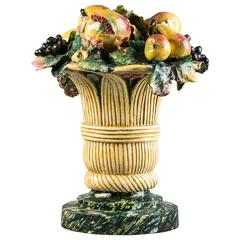 Majolica Fruit-in-Basket Centerpiece, circa 1875