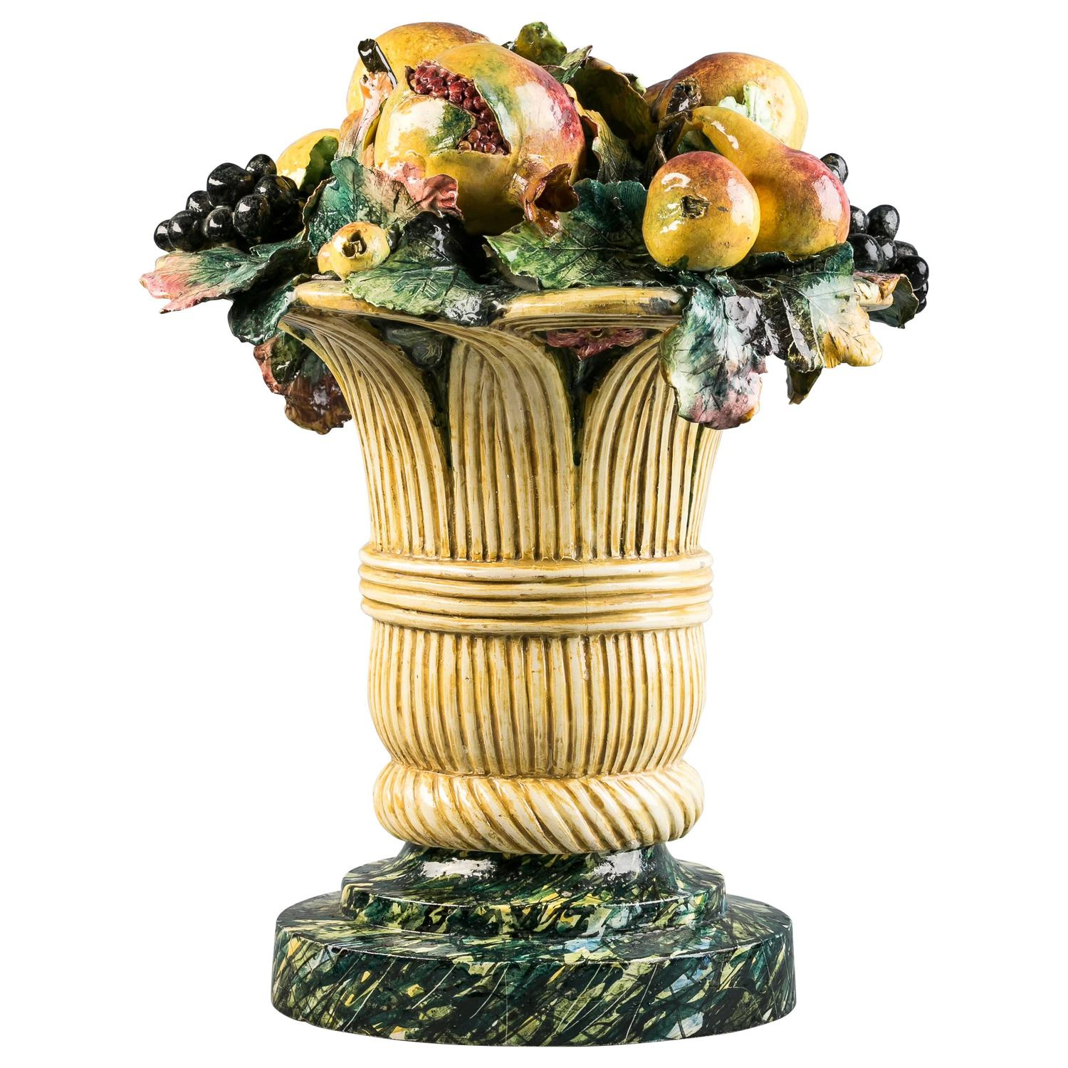 Majolica Fruit In Basket Centerpiece Circa 1875 For Sale