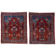 Old Kashan bedside carpets, with crown , suitable also for wall hanging