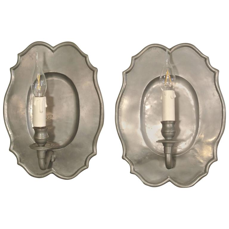 Nice Pair of French Pewter Sconces from the 20th Century