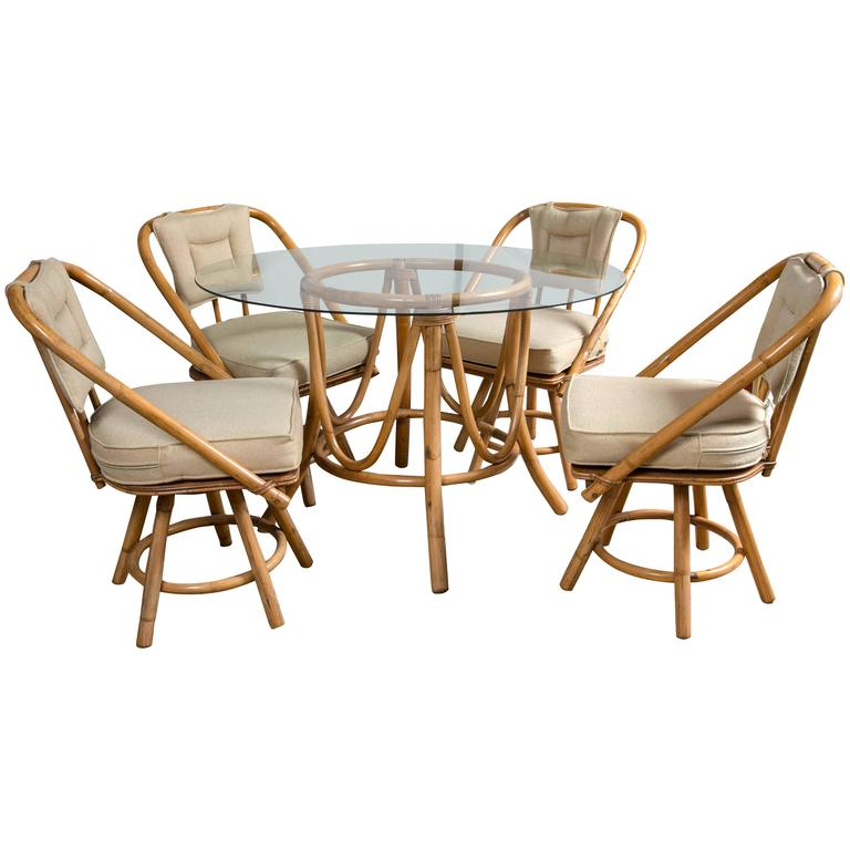 Vintage Bamboo Rattan Round Dining Table And Chairs At 1stdibs