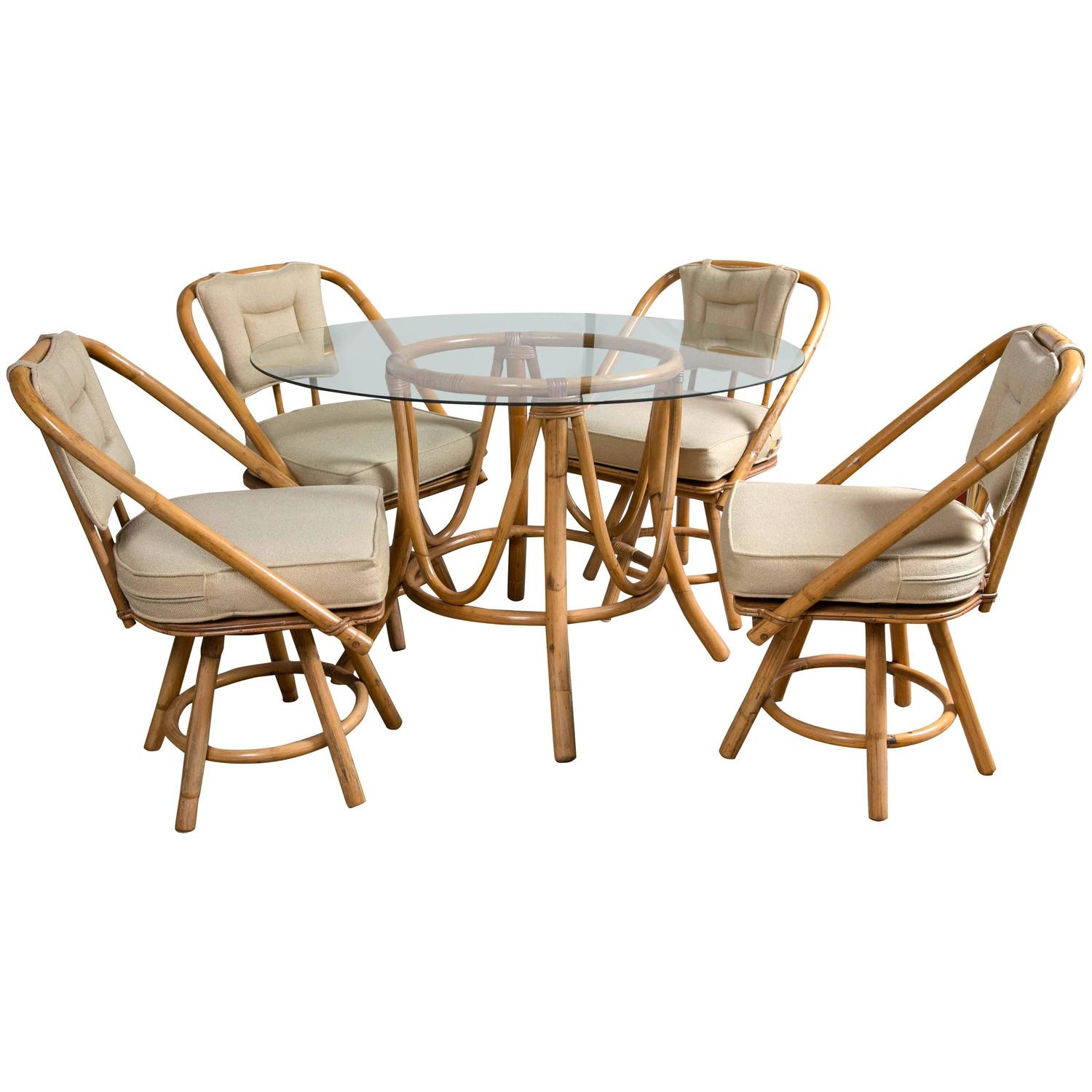 Vintage bamboo rattan round dining table and chairs at for Round dining table and chairs