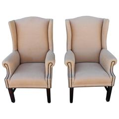 Pair of Fantastic 1920s Wing Chairs in Camel Linen