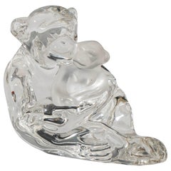 Crystal Glass Figurine of a Chimpanzee with Baby, Signed 'Saint-Louis'