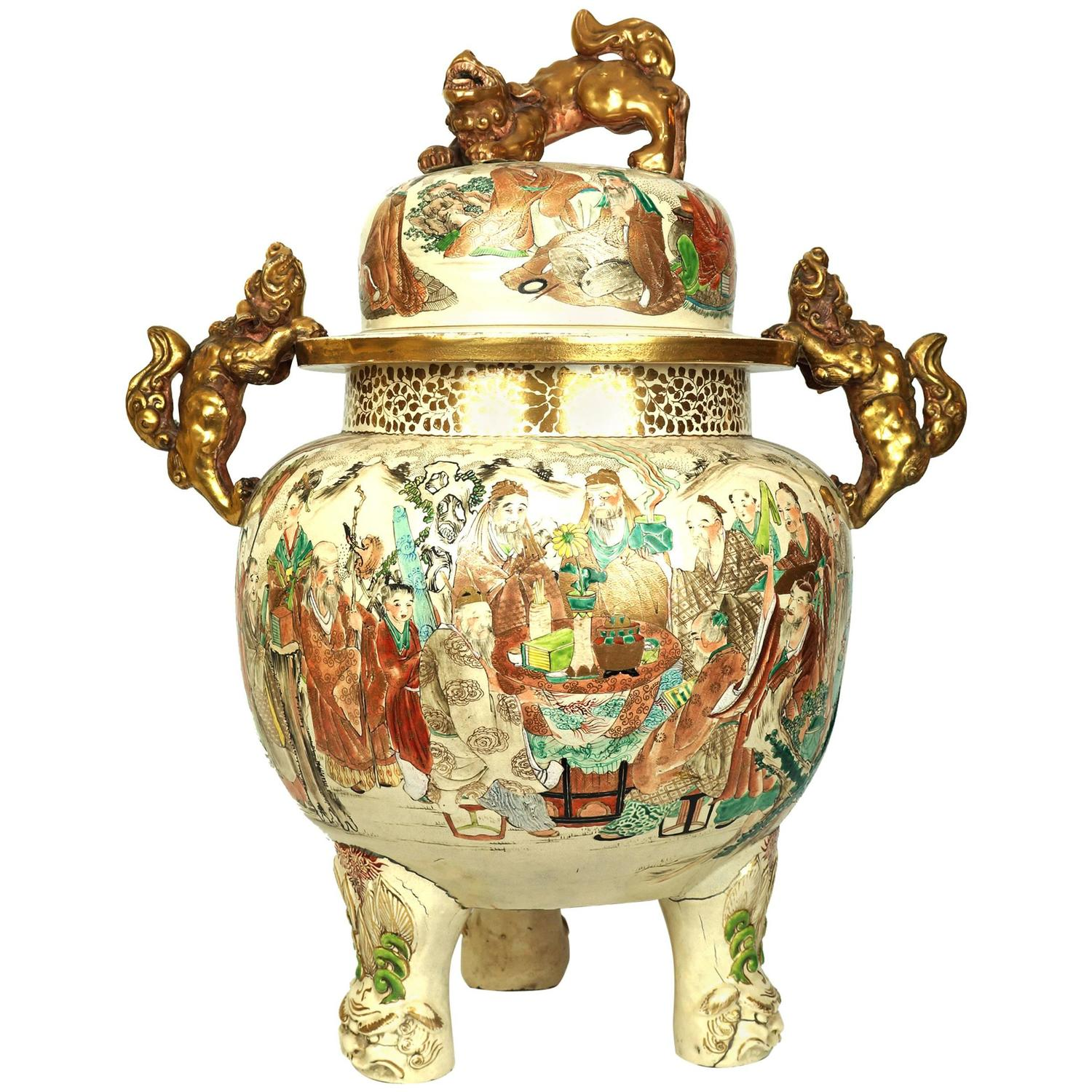 Large antique japanese satsuma koro covered urn with foo dog large antique japanese satsuma koro covered urn with foo dog handles and cover at 1stdibs reviewsmspy