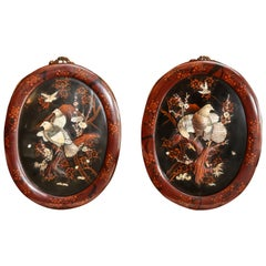 Pair of Antique Japanese Oval Plaques late 19 th century