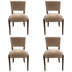 Elegant Set of Four Art Deco Dining Chairs in Exotic Burled Amboyna and Mohair
