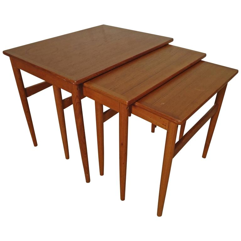 Midcentury Set of Teak Nesting Tables