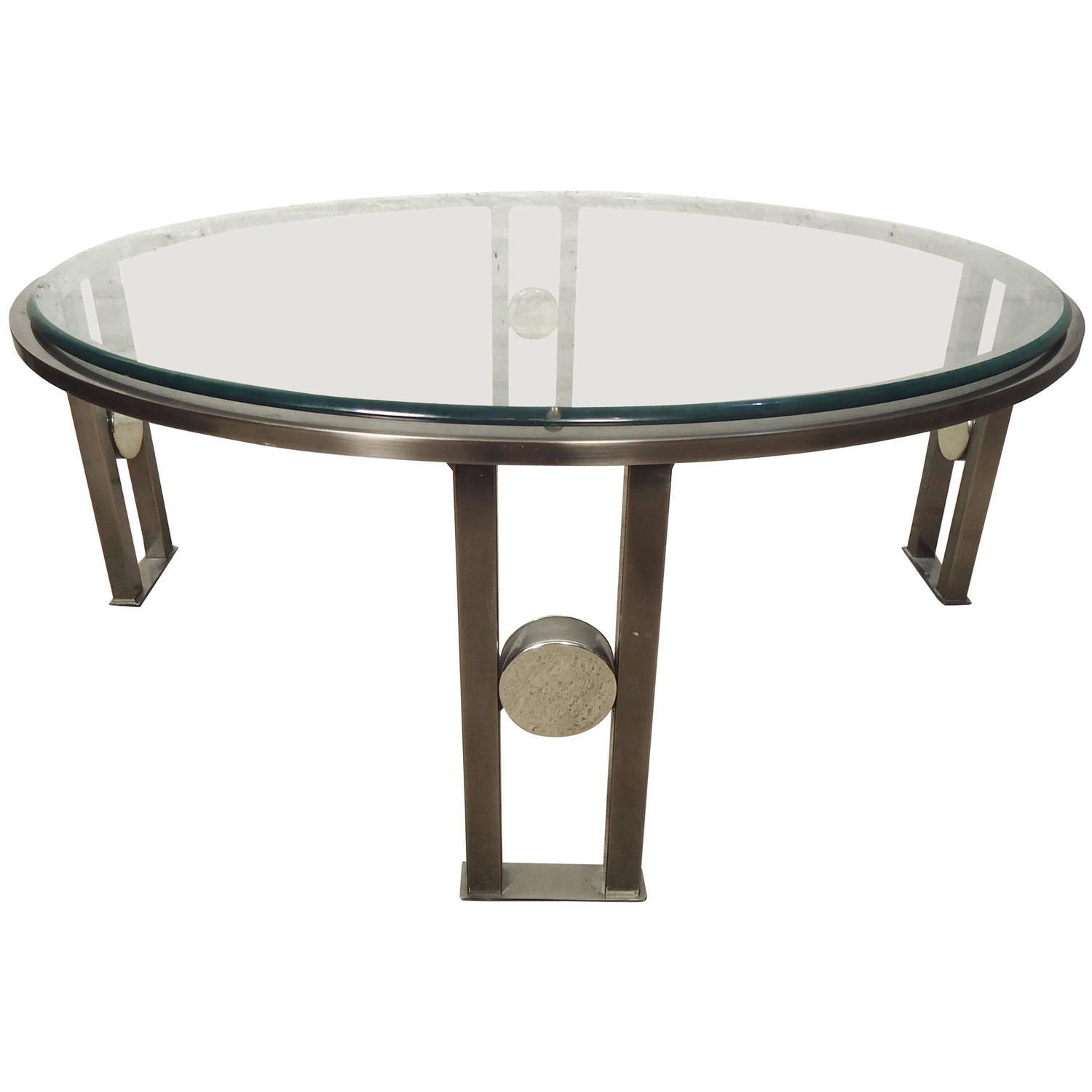 Round glass top coffee table at 1stdibs for Large round glass top coffee table