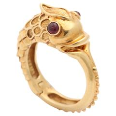 Vintage Tiffany Gold and Ruby Serpent Ring