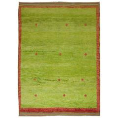 Lime Green Vintage Turkish Tulu Pile Rug