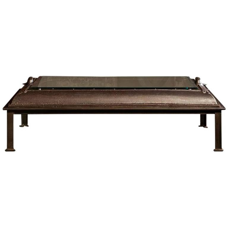 Cast Iron Industrial Coffee Table Made From An Old Boiler Room Door For Sale At 1stdibs