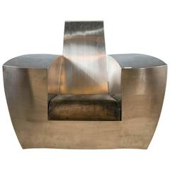Jonathan Singleton Easy Number One Chair Stainless Steel And Leather Spain 1990s