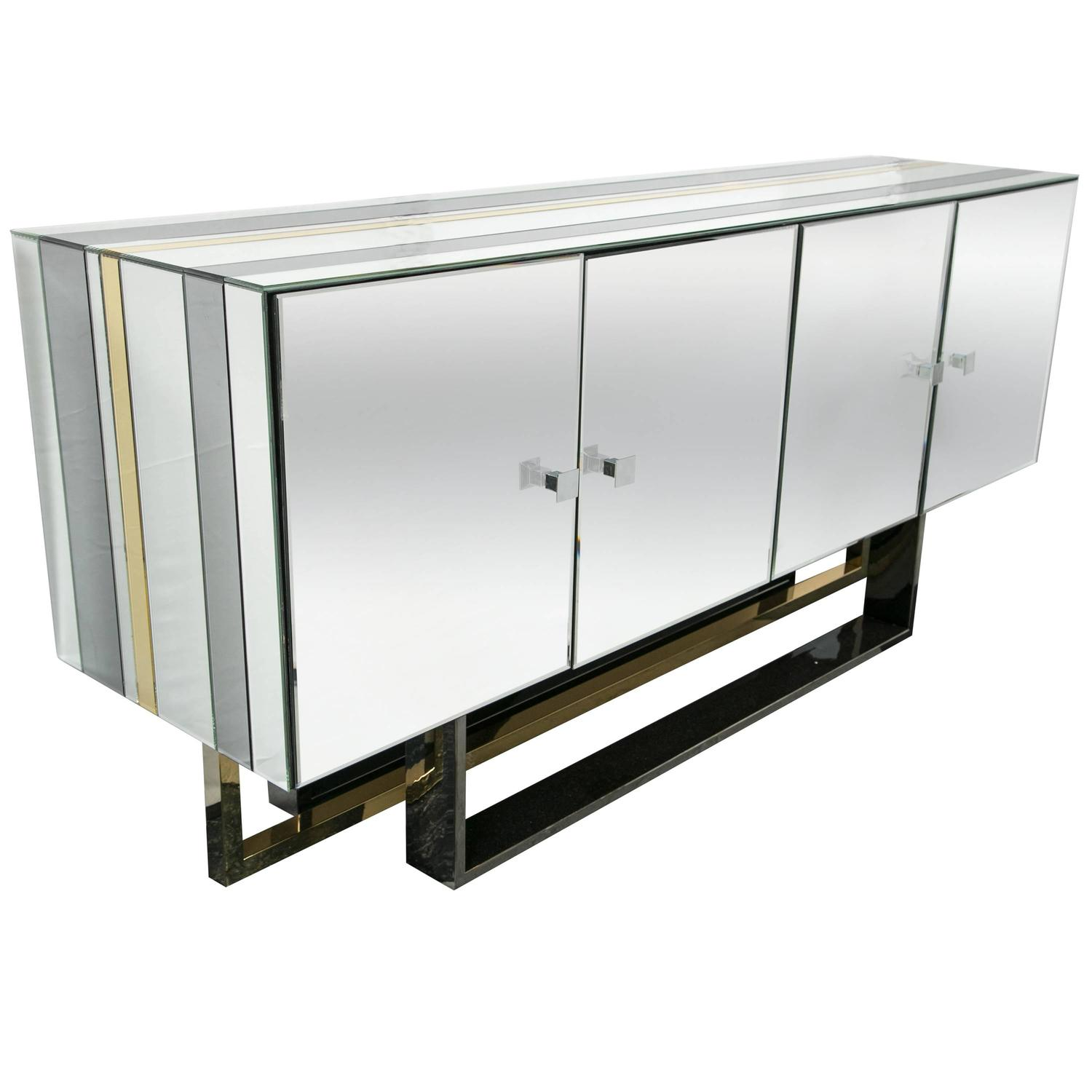 Mid Century Modern Mirrored Console Cabinet At 1stdibs