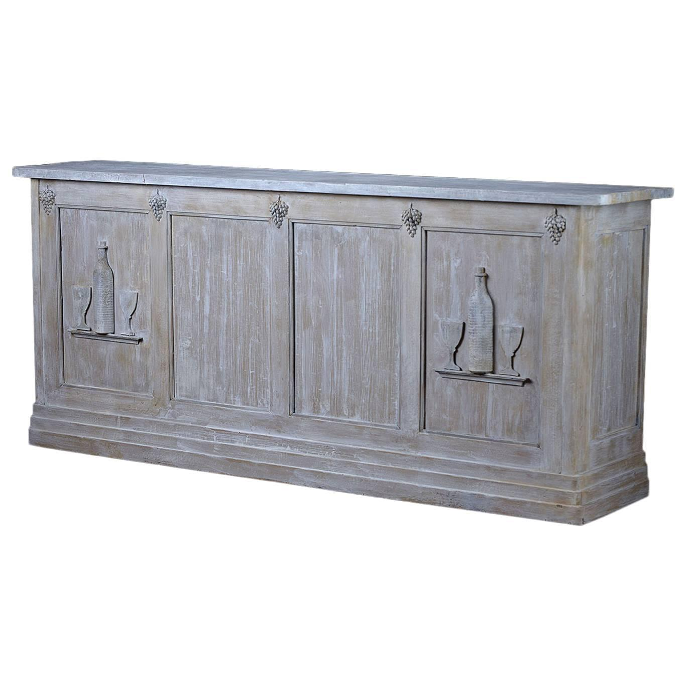 Antique French Wood Buffet Wine Tasting Bar At 1stdibs
