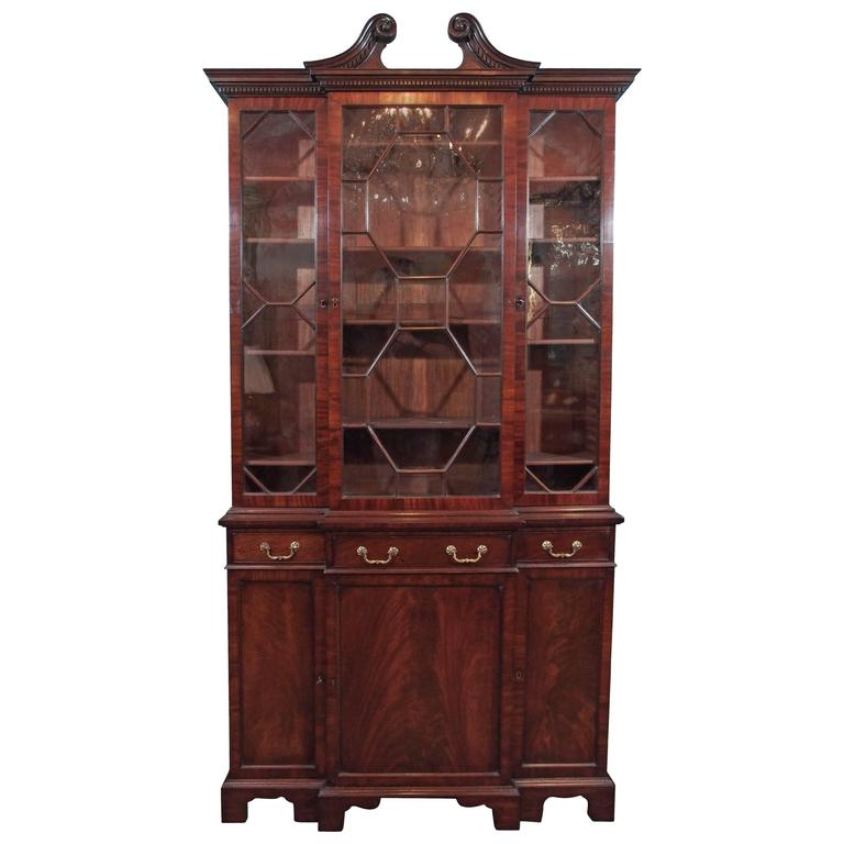 Antique English Mahogany Small Breakfront Bookcase For