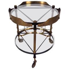 Italian Modern Bar Cart in Iron and Brass