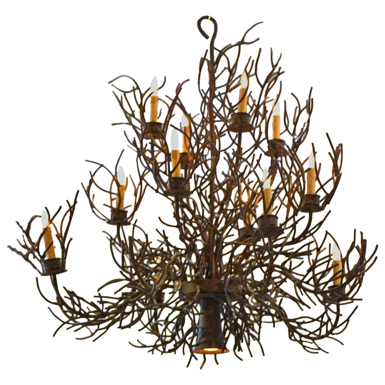 Vintage Bruce Eicher Twelve Light Metal Twig Chandelier at 1stdibs