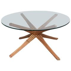 Mid-Century Modern Starburst McGuire Attributed Wood / Glass Table