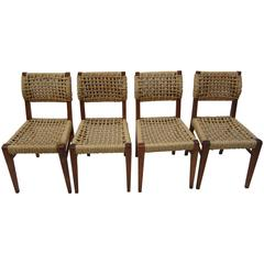Set of Four Side or Dining Chairs by Audoux-Minet