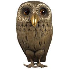 English Sterling Silver Owl Form Mustard Pot, Tiffany & Co, London, 1972