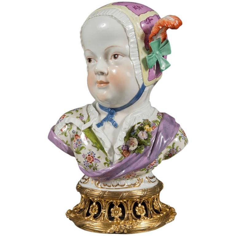 Antique Meissen Porcelain Portrait Bust of a Bourbon Child
