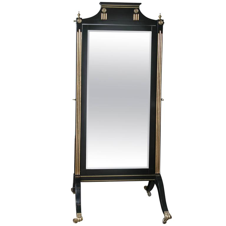 One Of A Kind Ebonized and Bronze-Mounted Maison Jansen Beveled Cheval Mirror For Sale