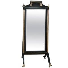 Hollywood Regency  Maison Jansen Beveled Cheval Mirror