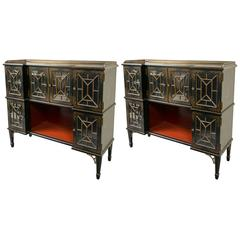 Pair of Fine Hand-Painted Chinoiserie Cabinets