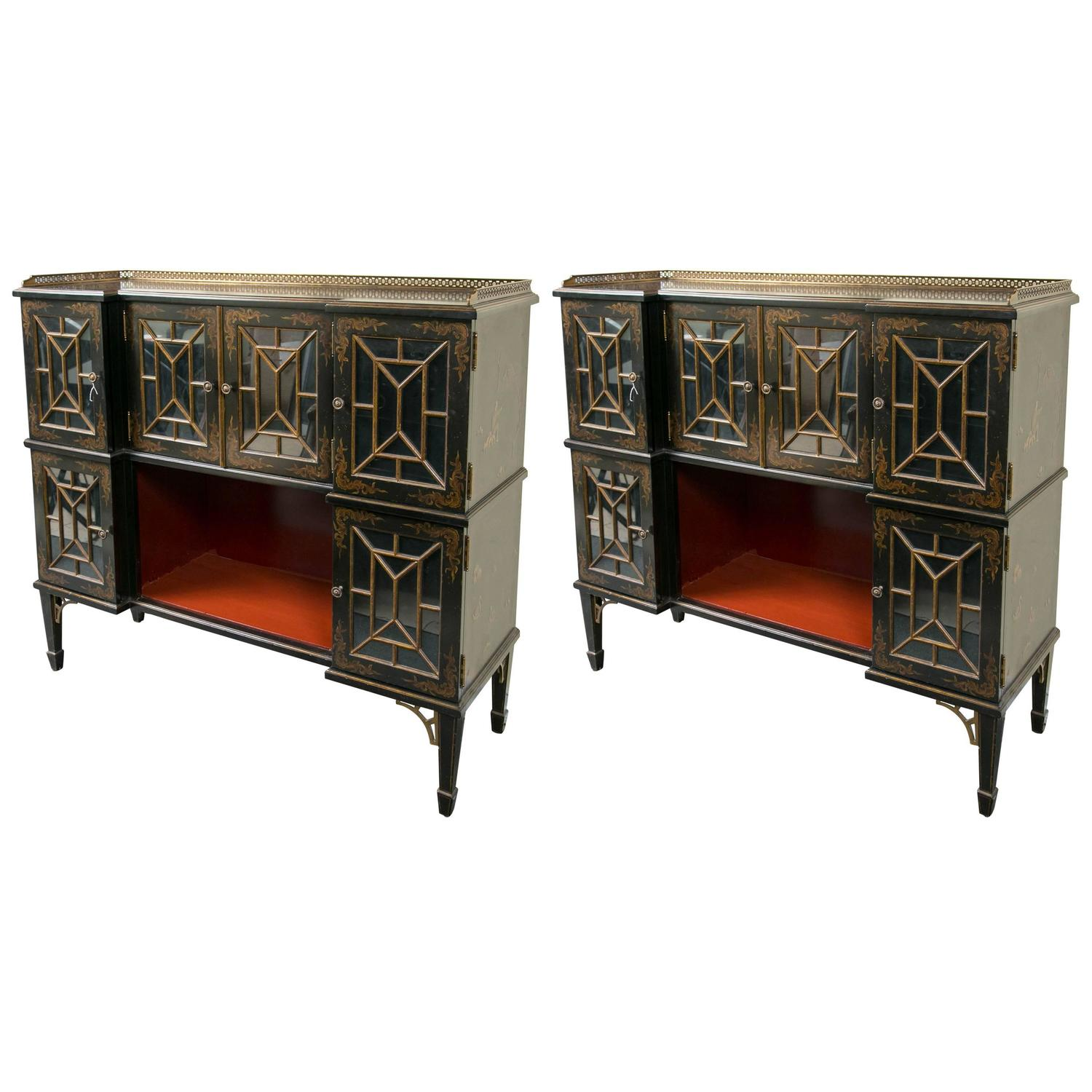 Pair Of Fine Hand Painted Chinoiserie Cabinets At 1stdibs