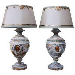 Pair of 19th Century Italian Urns Wired into Lamps and Crowned with Shades