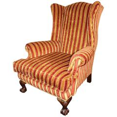 Ball and Claw Striped Upholstered Gents Armchair