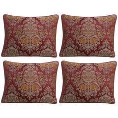 Pair of Antique Silk Damask Pillows with Linen Backs