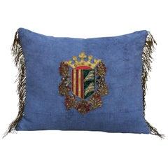 19th Century Royal Crest Linen Pillow